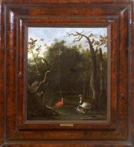 paysage animé de volatiles et dun singe by anthonie van borssom