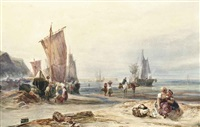 fishermen unloading the catch at low tide by samuel austin