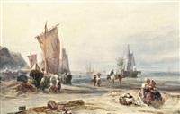 fishermen unloading the catch at low tide by samuel austin
