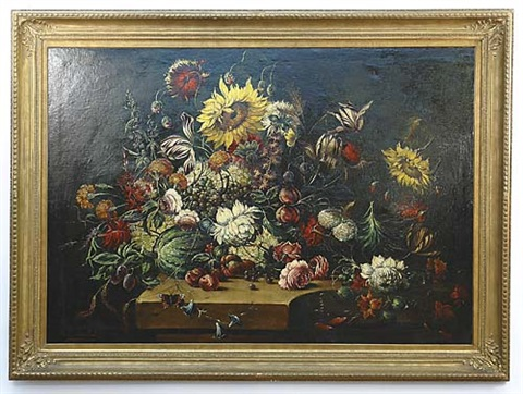 tulip sunflower still life by j van aelst