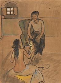 zwei frauen und ein kleinkind (firenze) (+ figure studies in pen and ink, verso) by max pechstein