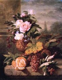 bouquet de fleurs dans un vase et fruits sur un entablement by simon saint-jean