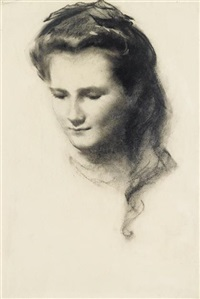 portrait of a girl wearing a ribbon in her hair by eric henri kennington