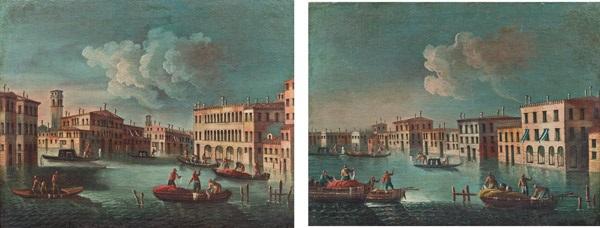 ein paar venedigveduten - blick entlang eines kanals mit wegkreuzung und zwei booten im vordergrund und blick entlang eines kanals, drei boote im vordergrund (pair) by francesco tironi