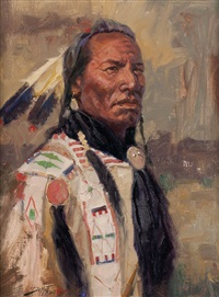 portrait of a sioux by john demott