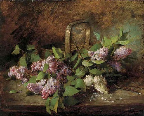 lilacs in a basket by marie lucie cornelius
