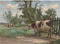 cows grazing in a watermeadow by léon barillot