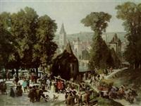 assemblée de gentilshommes aux abords d'une ville fortifiée by eugene louis theodore glueck