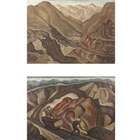 copper mine, bisbee, arizona (2 works) by william j. scott