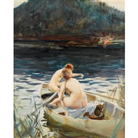 two women in a rowboat by john whorf