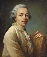 portrait d'un homme portant un exemplaire des essais de montaigne by johann anton de peters
