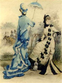 a la mode: elegant ladies at a racetrack by jules david