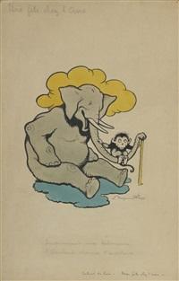 improvisant une balançoire, l'éléphant charme l'auditoire by benjamin rabier