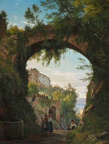 italians under an aqueduct in a high lying town at a lake by carl frederik peder aagaard