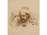 a study of three heads by george chinnery