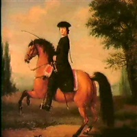portrait of a gentleman riding a bay charger in a wooded  landscape by david morier