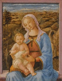 the madonna and child seated on a window ledge, a landscape beyond by (francesco di stefano) pesellino