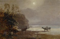 deer by a loch by clarence henry roe