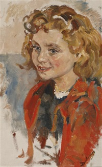 portrait of a girl wearing a red jacket by erasmus bernhard van dulmen krumpelman
