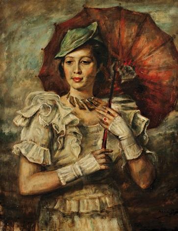 portrait de femme à lombrelle by romain kramstyk