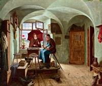 in der klösterlichen schusterwerkstatt by ludwig valenta