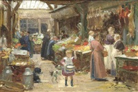 a french food market by victor gabriel gilbert