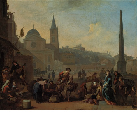 figures in the piazza del popolo rome by johannes lingelbach