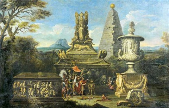 alexandre le grand faisant des libations devant la tombe dachille et le trophée de marius by alessandro salucci