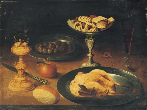 a roasted chicken a façon de venise glass of red wine on a ledge by osias beert the elder