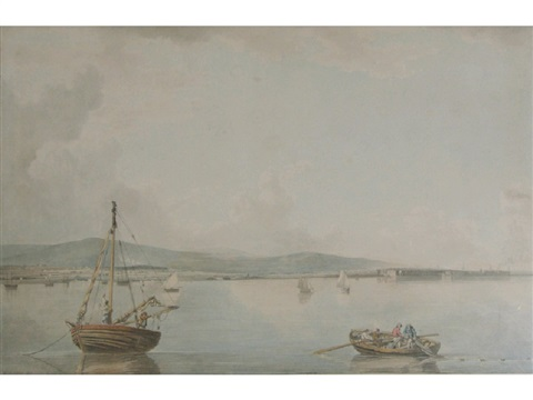 fishermen in a bay with a walled town beyond by francis wheatley
