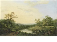 a romantic river landscape by hendrik pieter koekkoek