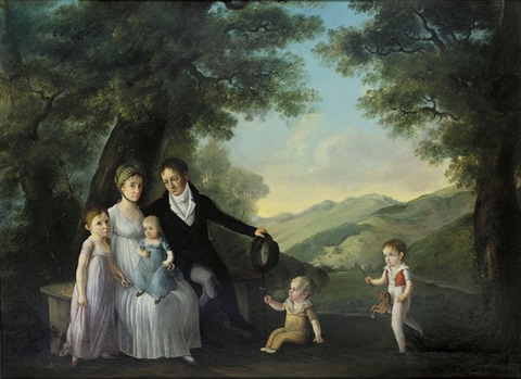 a family gathered in a pastoral landscape by françois joseph wachsmuth