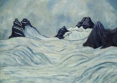 schneefeld mit dunklen bergspitzen by johannes fischer