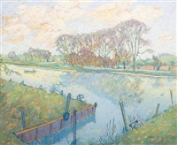 the thames at north stock, oxon by jean young