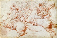 two horsemen recoiling, with soldiers in the background by boccacio boccaccino