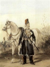 a native officer, ramghur irregular horse (+ 2 others; 3 works) by henry martens