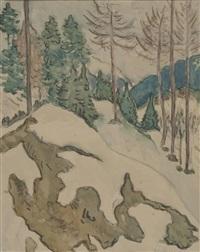 waldlandschaft im winter by egon hofmann-linz