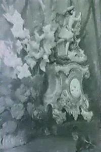 bodegon de flores y reloj de porcelana by eugenio lafuente