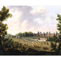a view of the royal palace of fontainebleau by hendrik frans de cort