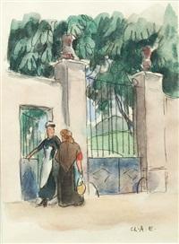 conversation devant la grille by charles-auguste edelmann
