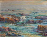 low tide toward sunset - laguna beach by ida randall bolles