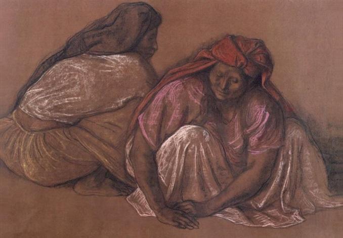 deux femmes accroupies by francisco zúñiga