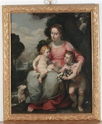 sacra famiglia con san giovannino by simone barabino