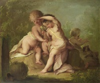 putti playing with a bird and a dog by johann heinrich keller