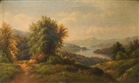 summer landscape with river and sailboats in the distance by hermann herzog
