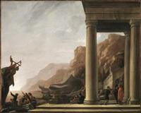 marina con architetture e personaggi by italian school-northern (17)