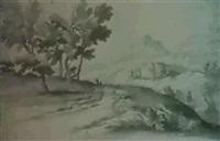 un paysage de montagne avec une route boisee ou se profilent des voyageurs by charles louis simonneau the elder