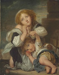 two children and a dog by jean baptiste greuze