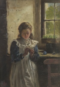 knitting by a cottage window by james brenan