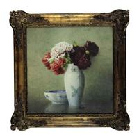 peonies in a porcelain vase by isidore rosenstock
